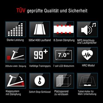 Fitifito FT850 Profi Laufband 7PS 22km/h, Dämpfungssystem, 5 Trainingsmodulen inkl. HRC - Klappbar, Tablethalter, Schwarz - 4