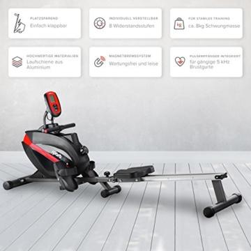 SportPlus Rudermaschine • Rudergerät für zuhause klappbar • leises & hochwertiges Magnetbremssystem • Trainingscomputer mit 5kHz Pulsempfänger • Nutzergewicht bis 150kg • SP-MR-008-B • Sicherheit geprüft - 3