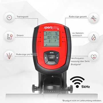 SportPlus Rudermaschine • Rudergerät für zuhause klappbar • leises & hochwertiges Magnetbremssystem • Trainingscomputer mit 5kHz Pulsempfänger • Nutzergewicht bis 150kg • SP-MR-008-B • Sicherheit geprüft - 4