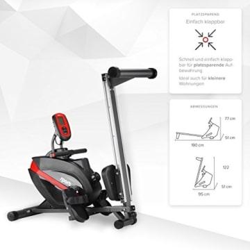 SportPlus Rudermaschine • Rudergerät für zuhause klappbar • leises & hochwertiges Magnetbremssystem • Trainingscomputer mit 5kHz Pulsempfänger • Nutzergewicht bis 150kg • SP-MR-008-B • Sicherheit geprüft - 6