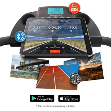 Sportstech F10 Laufband mit Smartphone App Steuerung, Schmiersystem, Pulsgurt im Wert von 39,90 € inklusive, Bluetooth, 1PS, 10 KM/H, für Geh- und Lauftraining mit 13 Programmen – kompakt klappbar - 3