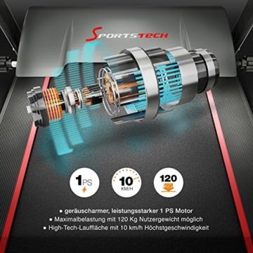 Sportstech F10 Laufband mit Smartphone App Steuerung, Schmiersystem, Pulsgurt im Wert von 39,90 € inklusive, Bluetooth, 1PS, 10 KM/H, für Geh- und Lauftraining mit 13 Programmen – kompakt klappbar - 4