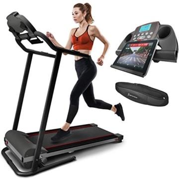 Sportstech F10 Laufband mit Smartphone App Steuerung, Schmiersystem, Pulsgurt im Wert von 39,90 € inklusive, Bluetooth, 1PS, 10 KM/H, für Geh- und Lauftraining mit 13 Programmen – kompakt klappbar - 1