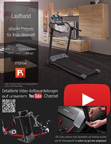 Sportstech F10 Laufband mit Smartphone App Steuerung, Schmiersystem, Pulsgurt im Wert von 39,90 € inklusive, Bluetooth, 1PS, 10 KM/H, für Geh- und Lauftraining mit 13 Programmen – kompakt klappbar - 7