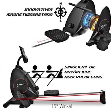 Sportstech Rudergerät RSX400 mit Smartphone APP, Pulsgurt inkl. - Rudermaschine für Ihr Zuhause, klappbar mit 8fach einstellbarem Magnetwiderstand und kugelgelagertem Sitz - 5