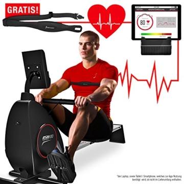 Sportstech Rudergerät RSX400 mit Smartphone APP, Pulsgurt inkl. - Rudermaschine für Ihr Zuhause, klappbar mit 8fach einstellbarem Magnetwiderstand und kugelgelagertem Sitz - 6