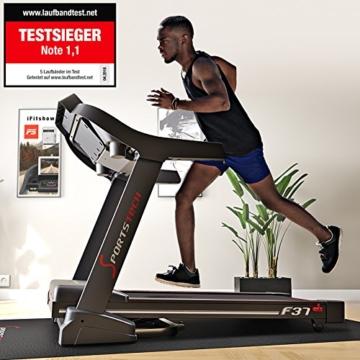 Sportstech TESTSIEGER F37 Profi Laufband bis 20 km/h, Selbstschmiersystem, Smartphone Fitness App, 15% Steigung, Bluetooth USB MP3, große Lauffläche mit Dämpfungssystem bis 130 Kg - klappbar - 2