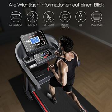 Sportstech TESTSIEGER F37 Profi Laufband bis 20 km/h, Selbstschmiersystem, Smartphone Fitness App, 15% Steigung, Bluetooth USB MP3, große Lauffläche mit Dämpfungssystem bis 130 Kg - klappbar - 3