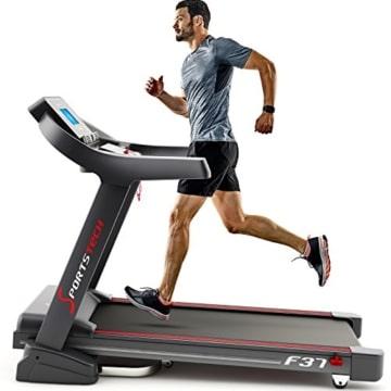 Sportstech TESTSIEGER F37 Profi Laufband bis 20 km/h, Selbstschmiersystem, Smartphone Fitness App, 15% Steigung, Bluetooth USB MP3, große Lauffläche mit Dämpfungssystem bis 130 Kg - klappbar - 1