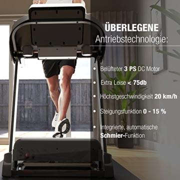 Sportstech TESTSIEGER F37 Profi Laufband bis 20 km/h, Selbstschmiersystem, Smartphone Fitness App, 15% Steigung, Bluetooth USB MP3, große Lauffläche mit Dämpfungssystem bis 130 Kg - klappbar - 5