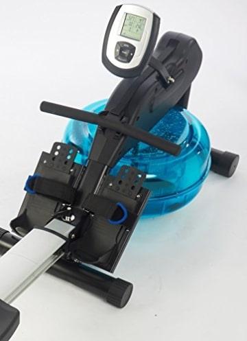 Wasser-Rudergerät BODY SCULPTURE ROWER BR5000, Ruderzugmaschine mit regulierbarem Wasserwiderstand, klappbares Wasserrudergerät mit Computer und Empfänger für Brustgurte, bis 136 kg - 3