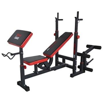 Hansson Sports TrainHard Kraftstation Fitnesscenter Hantelbank mit vielseitigen Trainingsmöglichkeiten, Schwarz/Rot, - 2