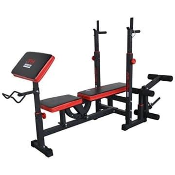 Hansson Sports TrainHard Kraftstation Fitnesscenter Hantelbank mit vielseitigen Trainingsmöglichkeiten, Schwarz/Rot, - 3
