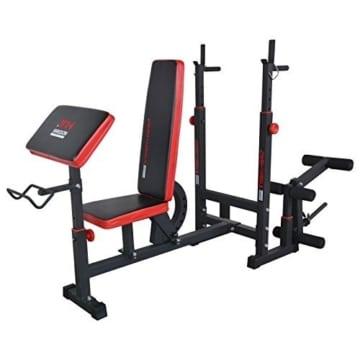 Hansson Sports TrainHard Kraftstation Fitnesscenter Hantelbank mit vielseitigen Trainingsmöglichkeiten, Schwarz/Rot, - 4