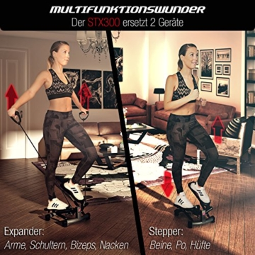 Sportstech 2in1 Twister Stepper mit Power Ropes – STX300 Drehstepper & Sidestepper für Anfänger & Fortgeschrittene, up-Down-Stepper mit Multifunktions-Display, Hometrainer Widerstand Einstellbar - 3