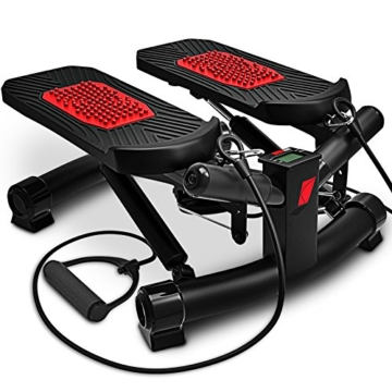 Sportstech 2in1 Twister Stepper mit Power Ropes – STX300 Drehstepper & Sidestepper für Anfänger & Fortgeschrittene, up-Down-Stepper mit Multifunktions-Display, Hometrainer Widerstand Einstellbar - 1