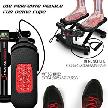 Sportstech 2in1 Twister Stepper mit Power Ropes – STX300 Drehstepper & Sidestepper für Anfänger & Fortgeschrittene, up-Down-Stepper mit Multifunktions-Display, Hometrainer Widerstand Einstellbar - 5
