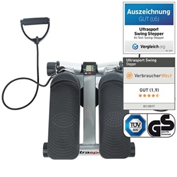 Ultrasport Swing Stepper inklusive Trainingsbändern/Hometrainer Stepper mit verstellbarem Widerstand und kabellosem Trainingscomputer – Up-Down-Stepper für Einsteiger und Trainierte, klein & kompakt - 2