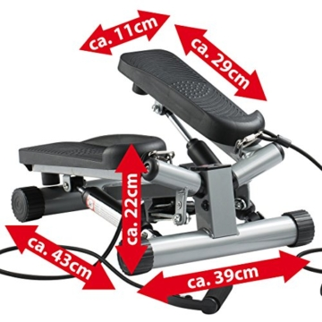 Ultrasport Swing Stepper inklusive Trainingsbändern/Hometrainer Stepper mit verstellbarem Widerstand und kabellosem Trainingscomputer – Up-Down-Stepper für Einsteiger und Trainierte, klein & kompakt - 5