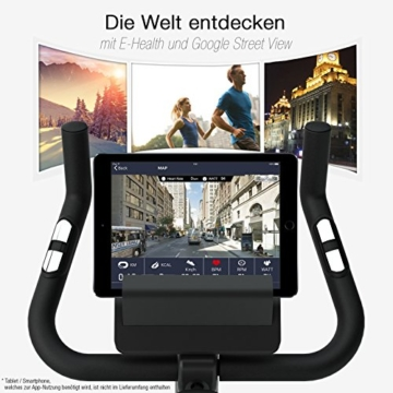 Ergometer SPORTSTECH ESX500 mit Smartphone App Steuerung + Google Street View Lauf + 5,5 Zoll Display, 12KG Schwungmasse, Pulsgurt kompatibel – Fitness Bike Heimtrainer mit flüsterleisem Riemenantrieb - 3