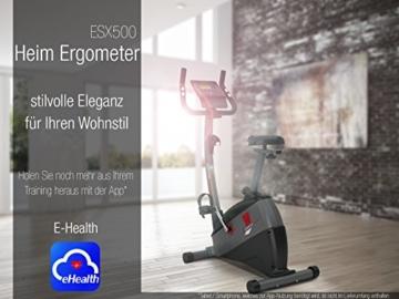 Ergometer SPORTSTECH ESX500 mit Smartphone App Steuerung + Google Street View Lauf + 5,5 Zoll Display, 12KG Schwungmasse, Pulsgurt kompatibel – Fitness Bike Heimtrainer mit flüsterleisem Riemenantrieb - 7