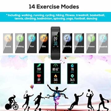 Fitness Armband Uhr mit Pulsmesser, LATEC Farbbildschirm Fitness Tracker Bluetooth Smart ArmbandUhr Wasserdicht IP68 Aktivitätstracker Schrittzähler Watch mit 14 Trainingsmodi Wetteranzeige Schlafmonitor Kalorienzähler Anruf SMS WhatsApp Facebook Twitter für iPhone Android Handy - 3