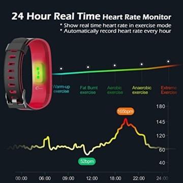 Fitness Armband Uhr mit Pulsmesser, LATEC Farbbildschirm Fitness Tracker Bluetooth Smart ArmbandUhr Wasserdicht IP68 Aktivitätstracker Schrittzähler Watch mit 14 Trainingsmodi Wetteranzeige Schlafmonitor Kalorienzähler Anruf SMS WhatsApp Facebook Twitter für iPhone Android Handy - 4