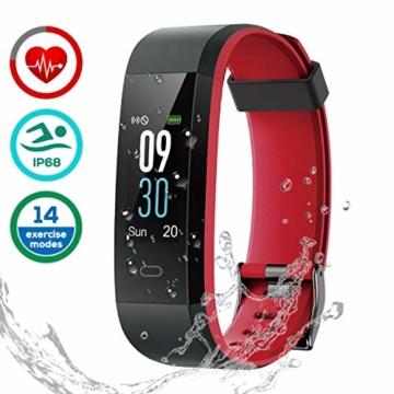 Fitness Armband Uhr mit Pulsmesser, LATEC Farbbildschirm Fitness Tracker Bluetooth Smart ArmbandUhr Wasserdicht IP68 Aktivitätstracker Schrittzähler Watch mit 14 Trainingsmodi Wetteranzeige Schlafmonitor Kalorienzähler Anruf SMS WhatsApp Facebook Twitter für iPhone Android Handy - 1