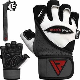 RDX Fitness Handschuhe Trainingshandschuhe Handgelenkschutz Crossfit Sporthandschuhe Gewichtheben Rindsleder workout krafttraining Bodybuilding Gym Gloves - 1