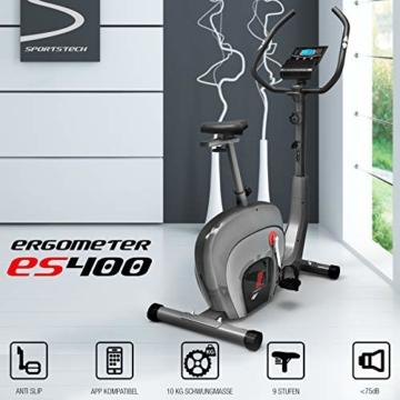 Sportstech ES400 Ergometer Heimtrainer - Smartphone App Steuerung - 10kg Schwungmasse - Bluetooth - Pulsmesser - Hometrainer mit Magnetbremssystem - Fahrrad-Trainer - Fitness-Bike - Tablethalterung - 2