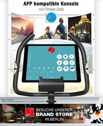 Sportstech ES400 Ergometer Heimtrainer - Smartphone App Steuerung - 10kg Schwungmasse - Bluetooth - Pulsmesser - Hometrainer mit Magnetbremssystem - Fahrrad-Trainer - Fitness-Bike - Tablethalterung - 3