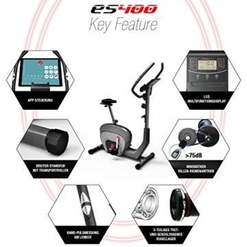 Sportstech ES400 Ergometer Heimtrainer - Smartphone App Steuerung - 10kg Schwungmasse - Bluetooth - Pulsmesser - Hometrainer mit Magnetbremssystem - Fahrrad-Trainer - Fitness-Bike - Tablethalterung - 6