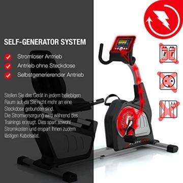Sportstech ES600 Profi Ergometer mit APP Steuerung & integriertem Stromgenerator + Pulsgurt optional, HRC, optimaler ergonomischer Sitzkomfort - Liegeergometer Heimtrainer mit Rückenlehne - 2