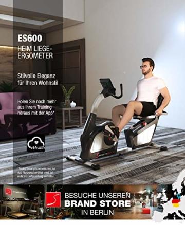 Sportstech ES600 Profi Ergometer mit APP Steuerung & integriertem Stromgenerator + Pulsgurt optional, HRC, optimaler ergonomischer Sitzkomfort - Liegeergometer Heimtrainer mit Rückenlehne - 3