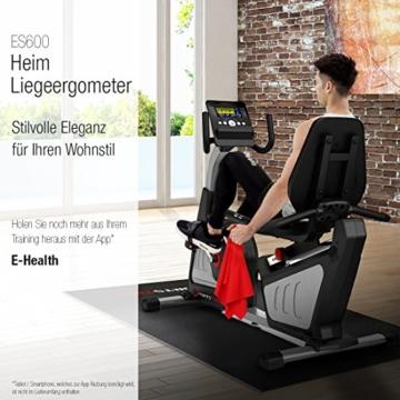 Sportstech ES600 Profi Ergometer mit APP Steuerung & integriertem Stromgenerator + Pulsgurt optional, HRC, optimaler ergonomischer Sitzkomfort - Liegeergometer Heimtrainer mit Rückenlehne - 5