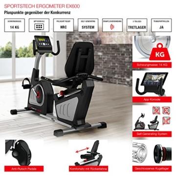 Sportstech ES600 Profi Ergometer mit APP Steuerung & integriertem Stromgenerator + Pulsgurt optional, HRC, optimaler ergonomischer Sitzkomfort - Liegeergometer Heimtrainer mit Rückenlehne - 7