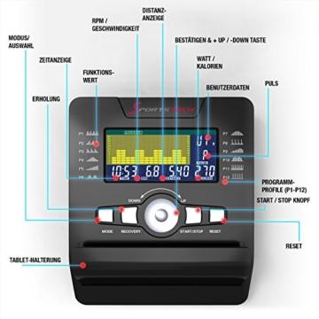 Sportstech ES600 Profi Ergometer mit APP Steuerung & integriertem Stromgenerator + Pulsgurt optional, HRC, optimaler ergonomischer Sitzkomfort - Liegeergometer Heimtrainer mit Rückenlehne - 8