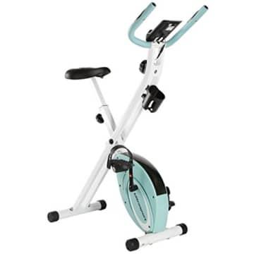 Ultrasport F-Bike Advanced Heimtrainer, Faltbares Fitnessbike mit Gelsattel, Flaschenhalter und Trinkflasche, Mint, OS - 1