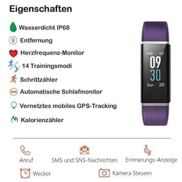 Willful Fitness Armband mit Pulsmesser,Wasserdicht IP68 Fitness Tracker Farbbildschirm Aktivitätstracker Smart ArmbandUhr Schrittzähler Uhr mit 14 Trainingsmodi Schlafmonitor Vibrationsalarm Anruf SMS Whatsapp Beachten Bildschirm Helligkeit Einstellbar kompatibel mit iPhone Android Handy - 2