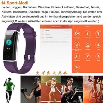 Willful Fitness Armband mit Pulsmesser,Wasserdicht IP68 Fitness Tracker Farbbildschirm Aktivitätstracker Smart ArmbandUhr Schrittzähler Uhr mit 14 Trainingsmodi Schlafmonitor Vibrationsalarm Anruf SMS Whatsapp Beachten Bildschirm Helligkeit Einstellbar kompatibel mit iPhone Android Handy - 3