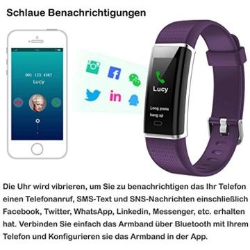 Willful Fitness Armband mit Pulsmesser,Wasserdicht IP68 Fitness Tracker Farbbildschirm Aktivitätstracker Smart ArmbandUhr Schrittzähler Uhr mit 14 Trainingsmodi Schlafmonitor Vibrationsalarm Anruf SMS Whatsapp Beachten Bildschirm Helligkeit Einstellbar kompatibel mit iPhone Android Handy - 6