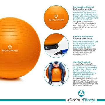 #DoYourFitness® Gymnastikball inkl. GRATIS Trainingsplan (PDF) & Luftpumpe | 55cm 65cm 75cm o. 85cm | 100% Berstsicher - 150kg Belastbarkeit - Robuster Sitzball, Bürostuhl, Fitnessball 85cm orange - 4