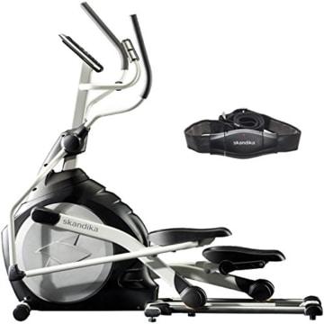 skandika Crosstrainer CardioCross Carbon Pro SF-3200, 23,5 kg Schwungmasse, wartungsarmes Bremssytem über Magnettechnologie, Transportrollen, Kalorienverbrauch, Zeit und und Pulsmessung - 1