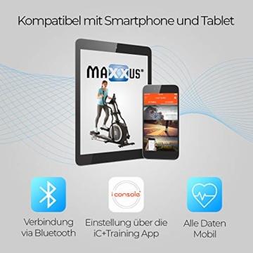 Crosstrainer MAXXUS CX 5.1 - Heimtrainer In Studioqualität, Bluetooth Steuerung Per Smartphone - 26 KG Schwungmasse Für Natürliche, Gelenkschonende Laufbewegung - Ellipsentrainer Mit 54cm Schrittlänge - 5