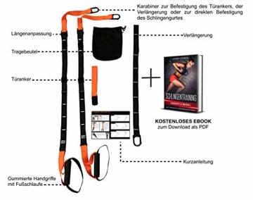 SYNOX Schlingentrainer; Sling Trainer mit Türanker für Fitness und Krafttraining mit beigefügter Kurzanleitung und Bonus Ebook - 2