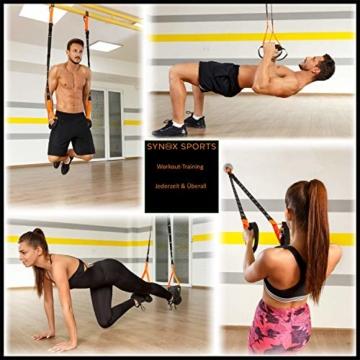 SYNOX Schlingentrainer; Sling Trainer mit Türanker für Fitness und Krafttraining mit beigefügter Kurzanleitung und Bonus Ebook - 6
