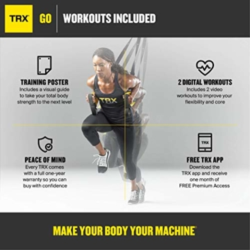 TRX Training – GO Suspension Trainer-Kit, Der leichteste und kleinste Suspension Trainer – Perfekt geeignet für unterwegs und für das Training im Innen- und Außenbereich (Schwarz) - 4