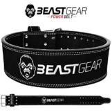 Beast Gear PowerBelt - Premium Powerlifting Gürtel mit Doppelter Dornschließe - 10,2cm x 10mm Nubukleder Kraftsport Gewichthebergürtel Nietengürtel | L - 1