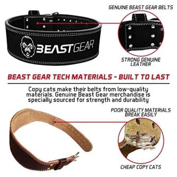 Beast Gear PowerBelt - Premium Powerlifting Gürtel mit Doppelter Dornschließe - 10,2cm x 10mm Nubukleder Kraftsport Gewichthebergürtel Nietengürtel   L - 4