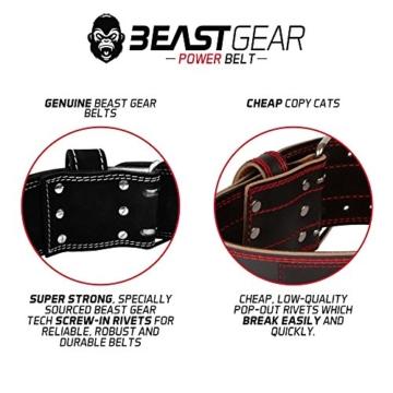 Beast Gear PowerBelt - Premium Powerlifting Gürtel mit Doppelter Dornschließe - 10,2cm x 10mm Nubukleder Kraftsport Gewichthebergürtel Nietengürtel   L - 5